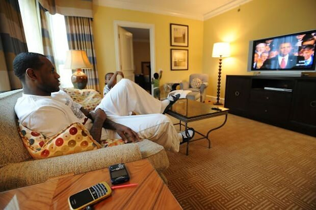 lebron james watching president obama inaguarated