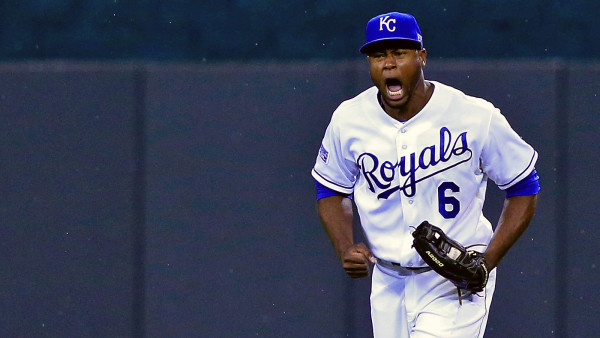 KANSAS CITY, MO - OCTOBER 05: Lorenzo  Cain #6 of the Kansas City Royals reacts after making two diving catches against the Los Angeles Angels in the fifth inning during Game Three of the American League Division Series at Kauffman Stadium on October 5, 2014 in Kansas City, Missouri. (Photo by Jamie Squire/Getty Images)