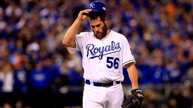KANSAS CITY, MO - OCTOBER 29: Greg Holland #56 of the Kansas City Royals walks off of the mound after pitching in the ninth inning against the San Francisco Giants during Game Seven of the 2014 World Series at Kauffman Stadium on October 29, 2014 in Kansas City, Missouri. (Photo by Jamie Squire/Getty Images)