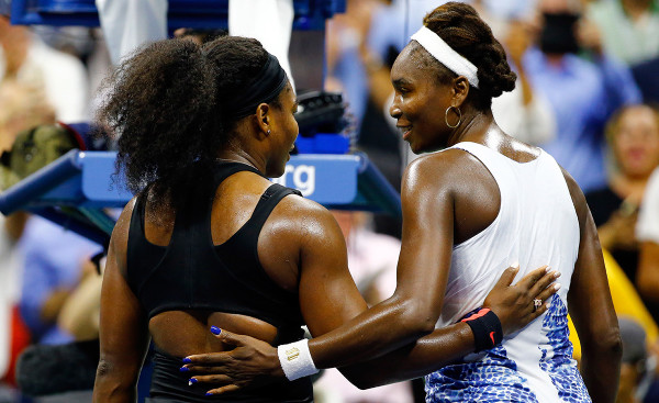 NEW YORK, NY - SEPTEMBER 08: Serena Williams (L) of the United States hugs Venus Williams of the United States after defeating her during their Women's Singles Quarterfinals match on Day Nine of the 2015 US Open at the USTA Billie Jean King National Tennis Center on September 8, 2015 in the Flushing neighborhood of the Queens borough of New York City. (Photo by Al Bello/Getty Images)