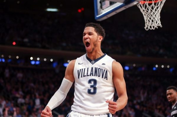 Mar 11, 2016; New York, NY, USA; Villanova Wildcats guard Josh Hart (3) celebrates a dunk against the Providence Friars during the second half in the semifinals of the Big East conference tournament at Madison Square Garden. The Wildcats won, 76-68. Mandatory Credit: Vincent Carchietta-USA TODAY Sports